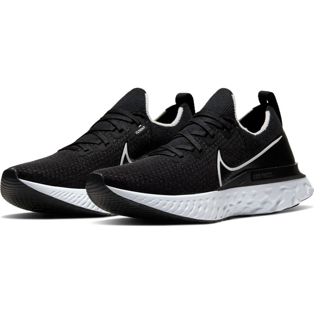 Nike Men's React Infinty Run Flyknit Running Shoes Black / White - achilles heel