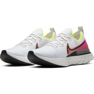 Nike Men's React Infinity Run Flyknit Running Shoes Platinum Tint / Black Pink Blast - achilles heel