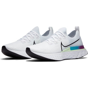 Nike Men's React Infinity Run Flyknit Running Shoes White / Black / Vapor Green / Oracle Aqua - achilles heel