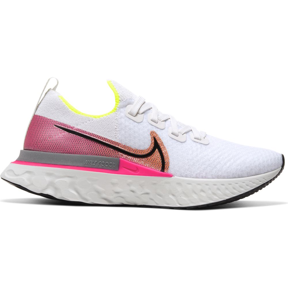 Nike Women's React Infinity Run Flyknit Running Shoes Platinum Tint / Black Pink Blast - achilles heel