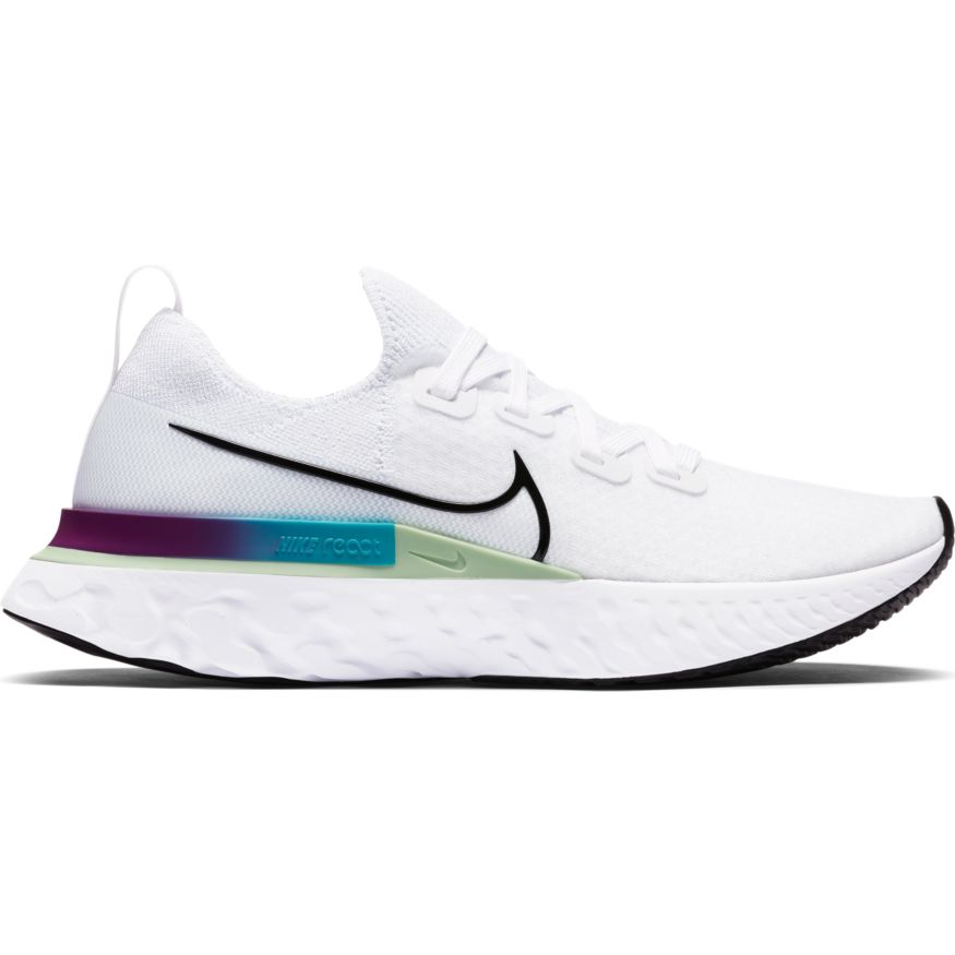 Nike Women's React Infinity Run Flyknit Running Shoes White / Black - achilles heel
