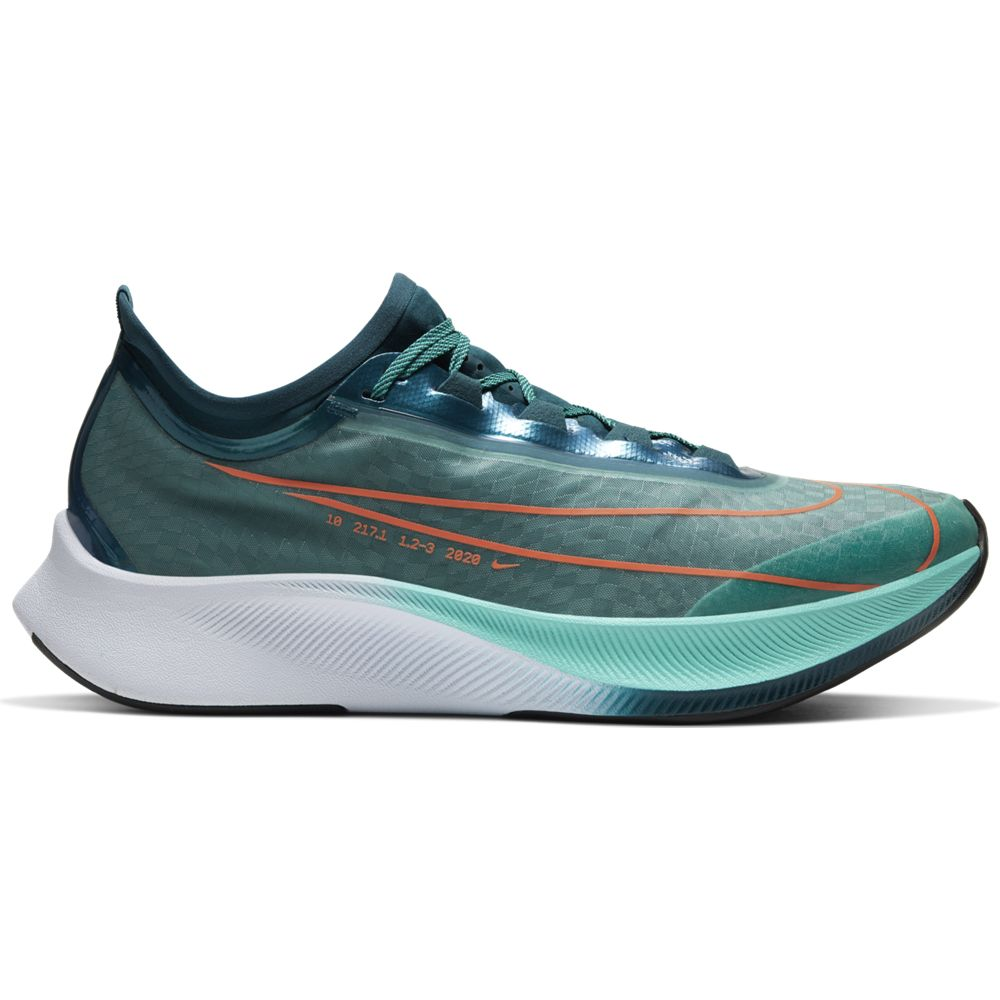 Nike Men's Zoom Fly 3 Premium Ekiden Running Shoes Neptune Green / Hyper Crimson - achilles heel