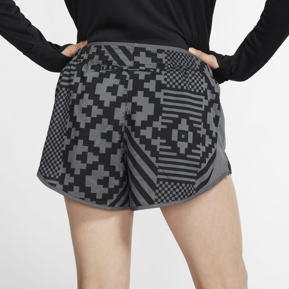 Nike Women's Tempo LX Runway Print Short Iron Grey / Reflective Silver - achilles heel