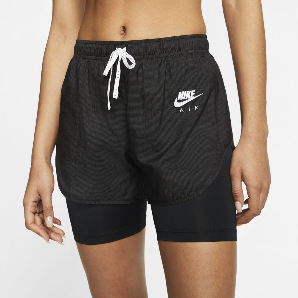 Nike Women's Air 2 In 1 Short Black / White / Reflective Silver - achilles heel