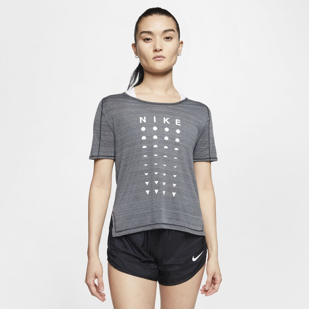 Nike Women's Better Icon Clash Tee Black Heather / Smoke Grey / White - achilles heel