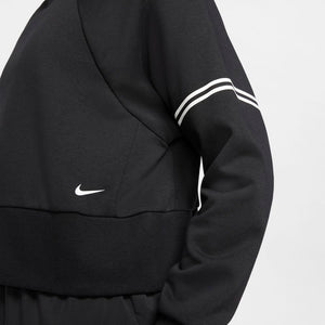 Nike Women's Pro Dri-Fit Get Fit Fleece Crew Black / White - achilles heel