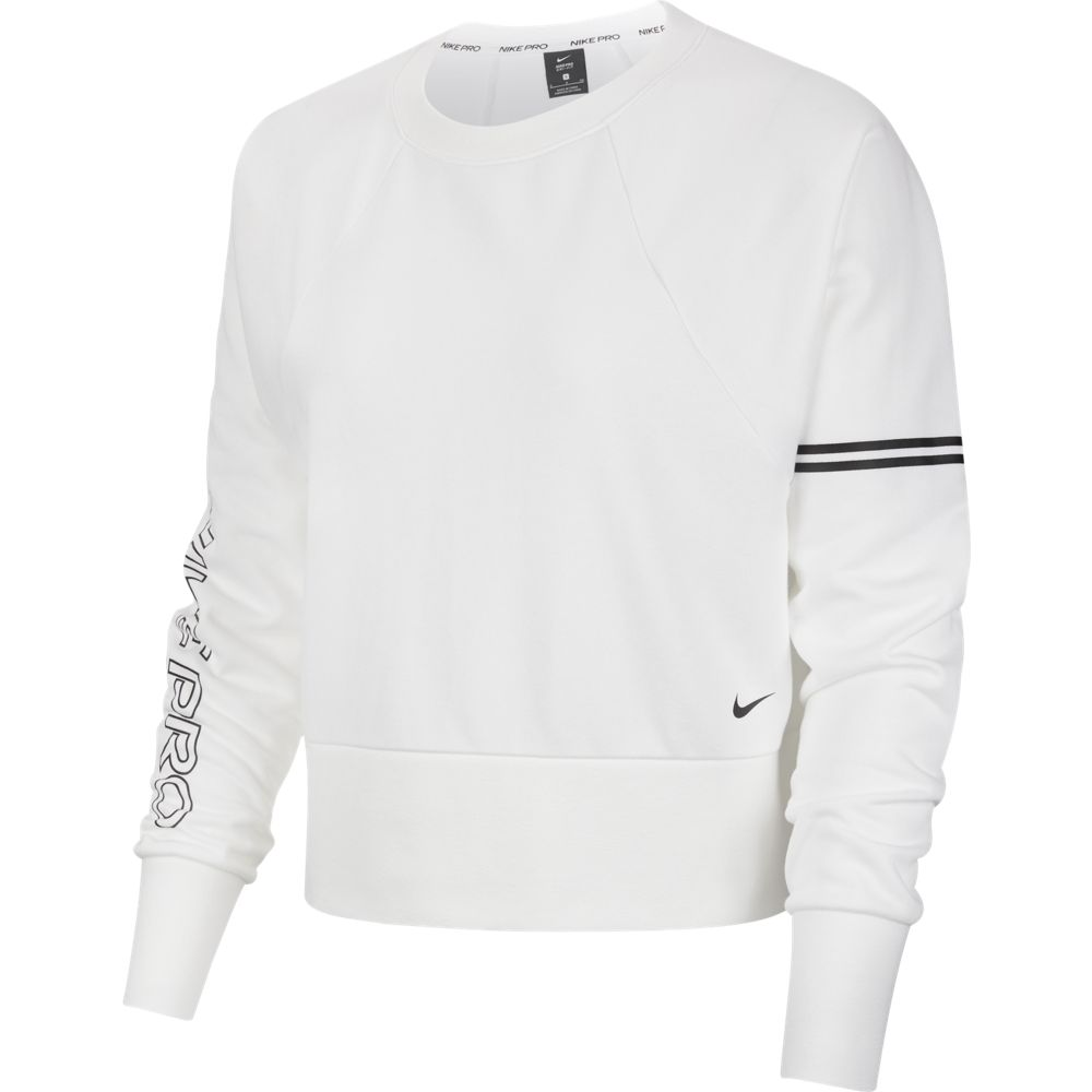 Nike Women's Pro Dri-Fit Get Fit Fleece Crew White / Black - achilles heel