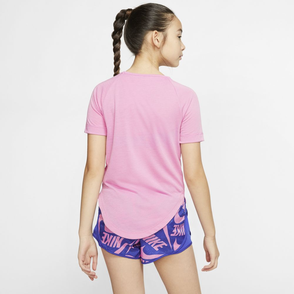 Nike Girls Trophy GFX Tee Magic Flamingo / Hyper Blue - achilles heel