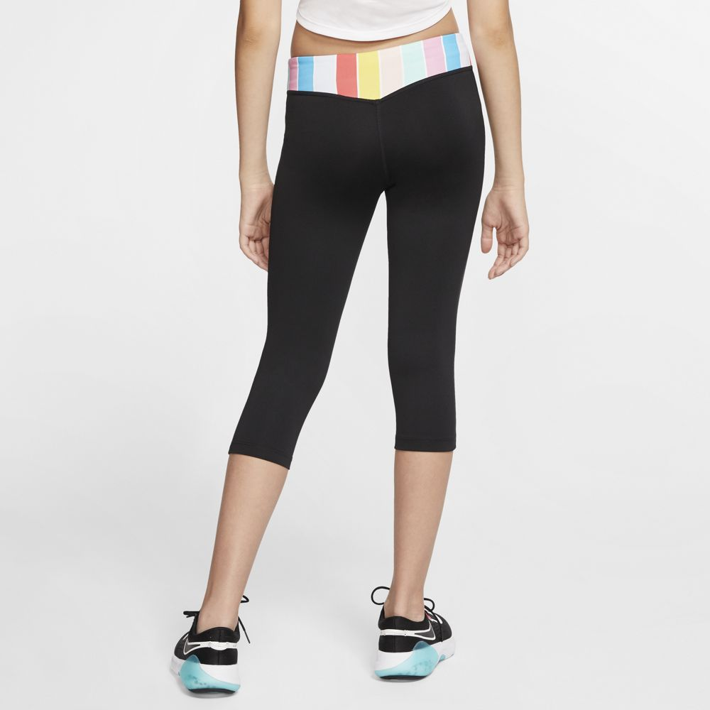 Nike Girls One Capri Tight Black / White / Track Red - achilles heel