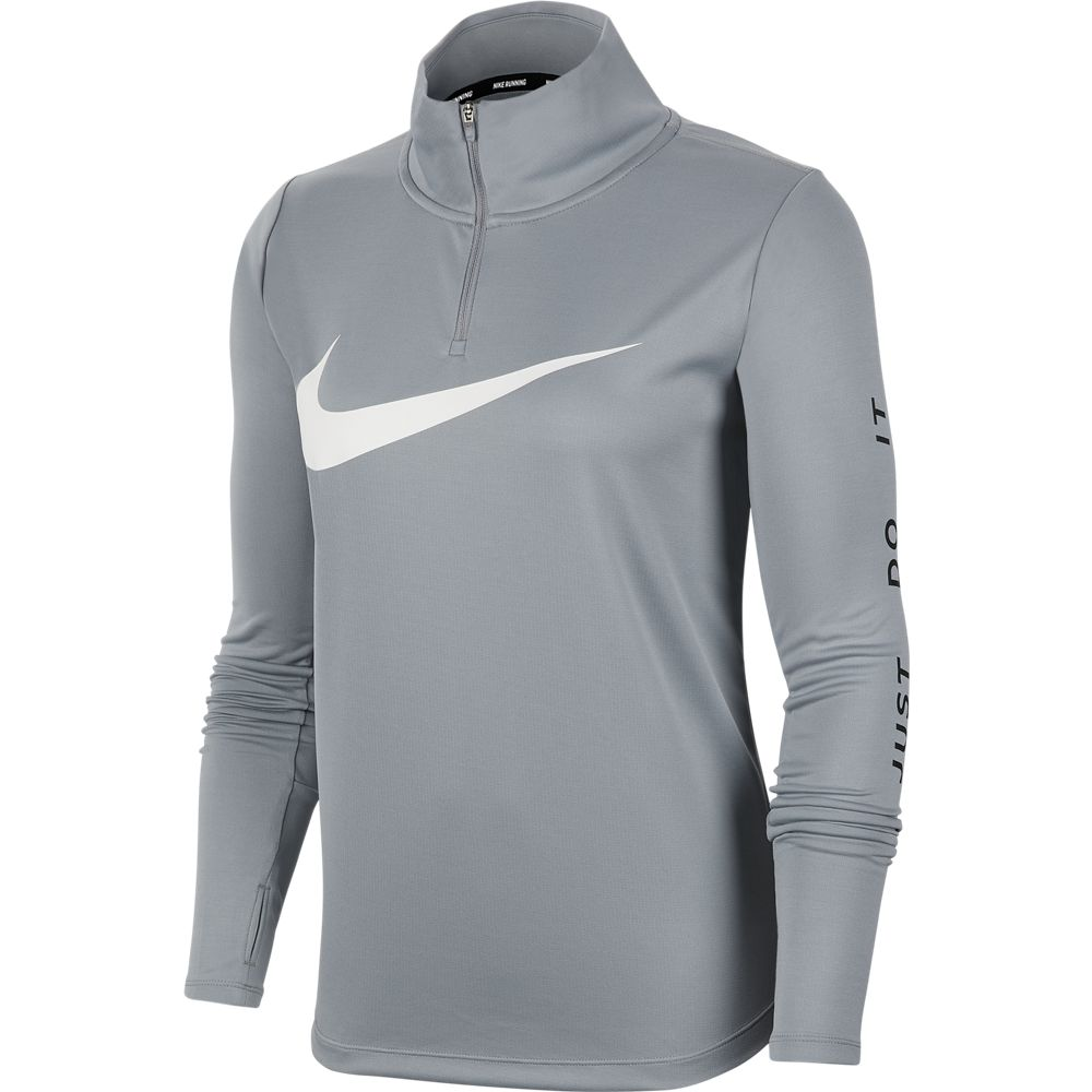 Nike Women's Midlayer Swoosh Run Top Particle Grey / White - achilles heel