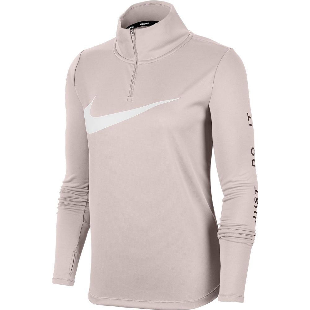 Nike Women's Midlayer Swoosh Run Top Barely Rose / White - achilles heel