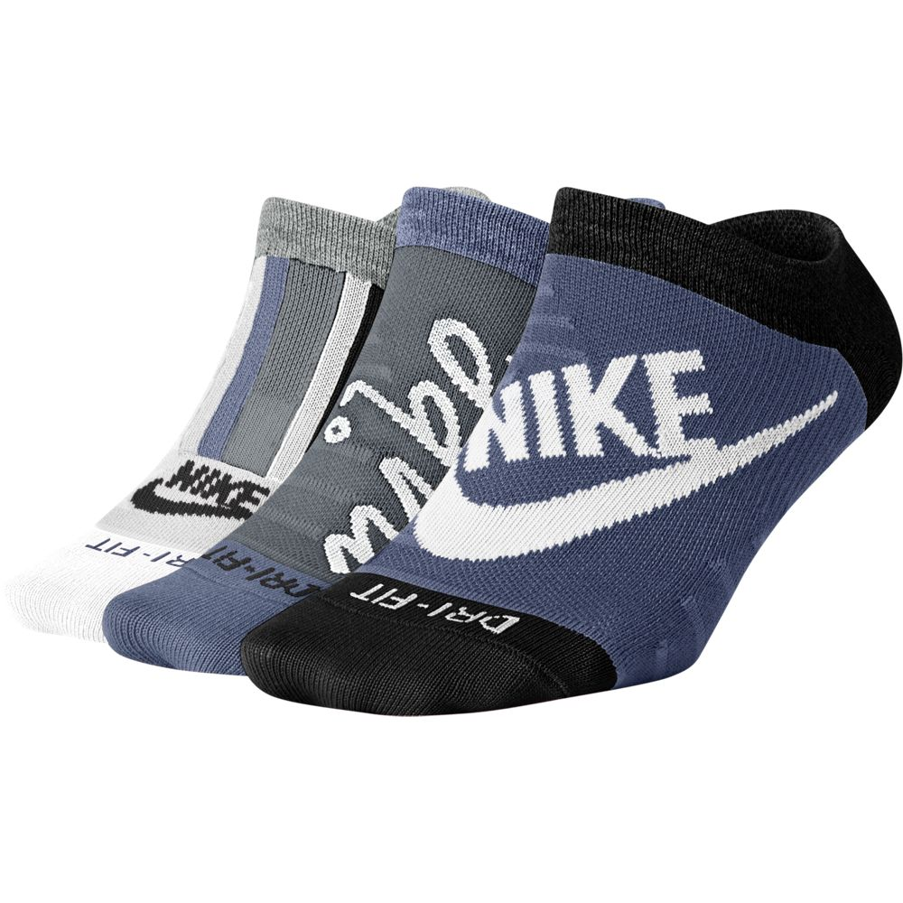 Nike Women's Everyday Max Lightweight No-Show  Socks 3 Pack Navy / Grey / White - achilles heel