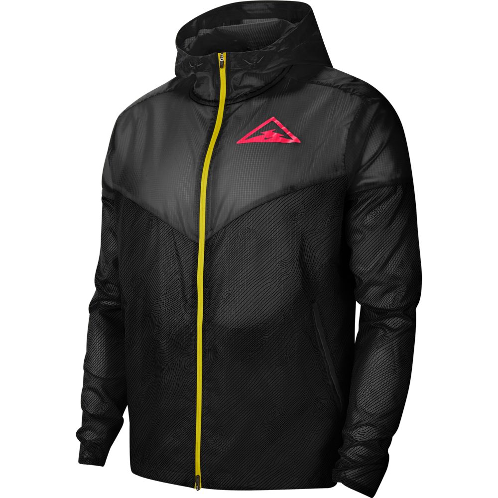 Nike Men's Trail Windrunner HD Jacket Black / Laser Crimson - achilles heel