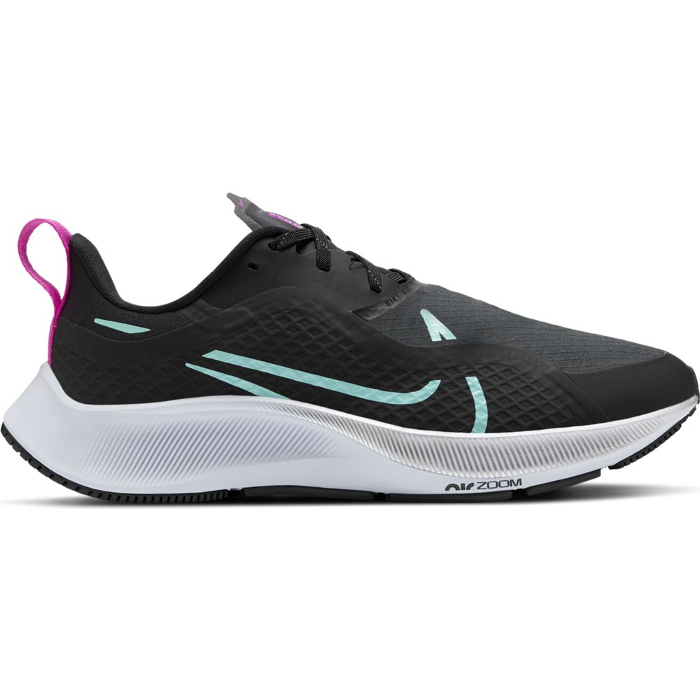 Nike Women's Air Zoom Pegasus 37 Shield Running Shoes Black / Aurora Green - achilles heel