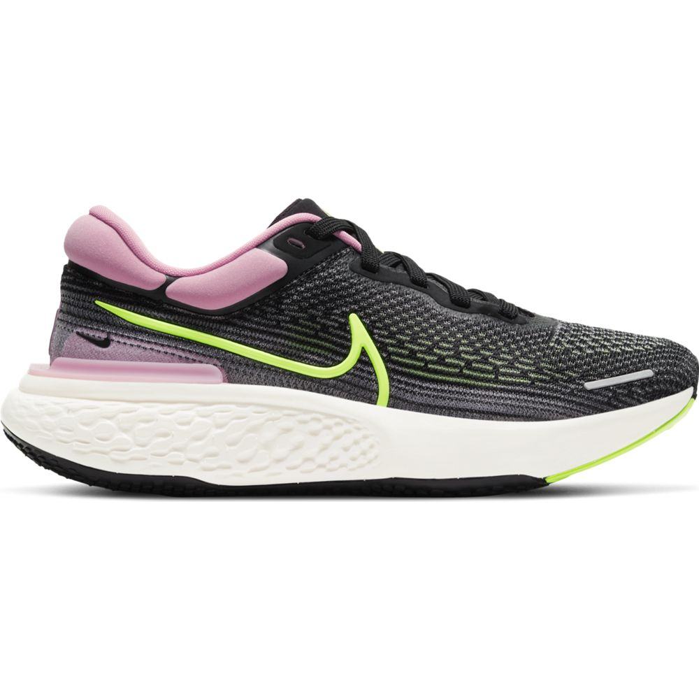 Nike Women's ZoomX Invincible Run Flyknit Running Shoes Black / Elemental Pink / Cyber - achilles heel