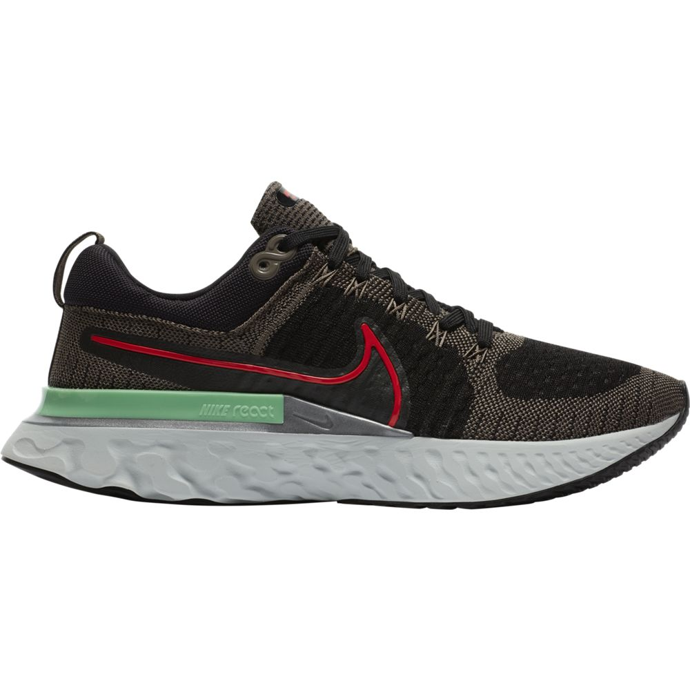Nike Men's React Infinity Run Flyknit 2 Running Shoes Ridgerock / Chile Red / Black / Green Glow - achilles heel