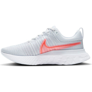 Nike Women's React Infinity Run Flyknit 2 Running Shoes Pure Platinum / Sunset Pulse / Football Grey / Bright Crimson - achilles heel