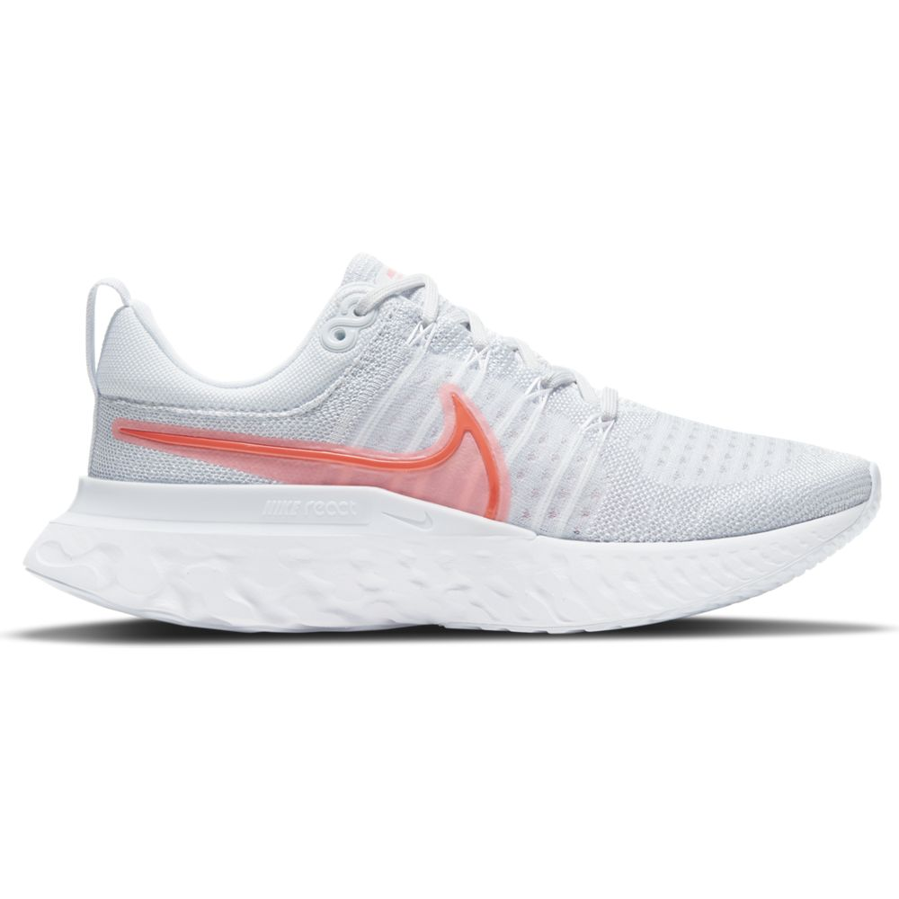 Nike Women's React Infinity Run Flyknit Running Shoes Pure Platinum / Sunset Pulse / Football Grey / Bright Crimson - achilles heel