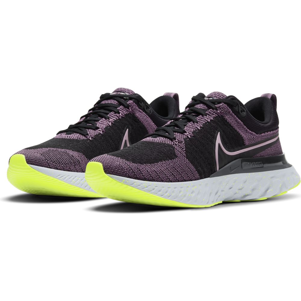 Nike Women's React Infinity Run Flyknit 2 Running Shoes Violet Dust / Black / Cyber / Elemental Pink - achilles heel