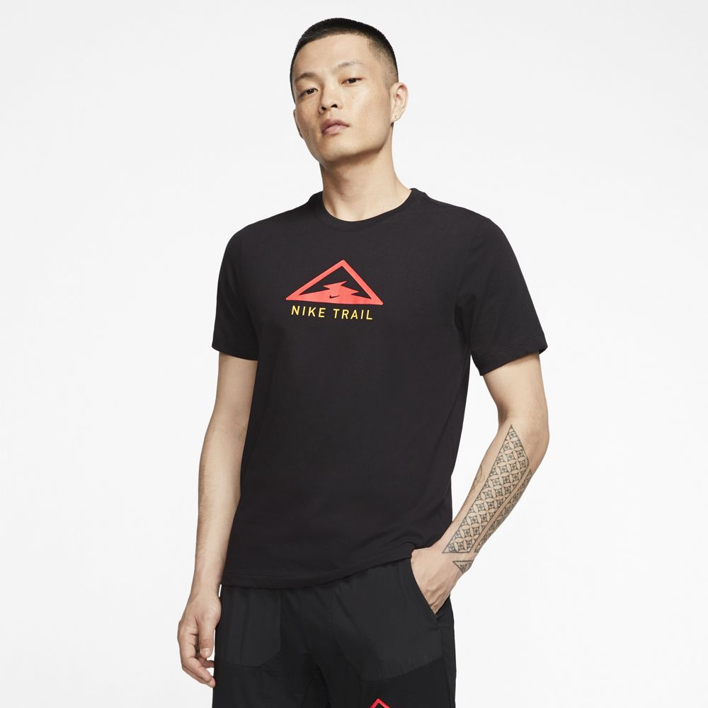 Nike Men's Dri-Fit Trail Tee Black / Crimson / Speed Yellow - achilles heel