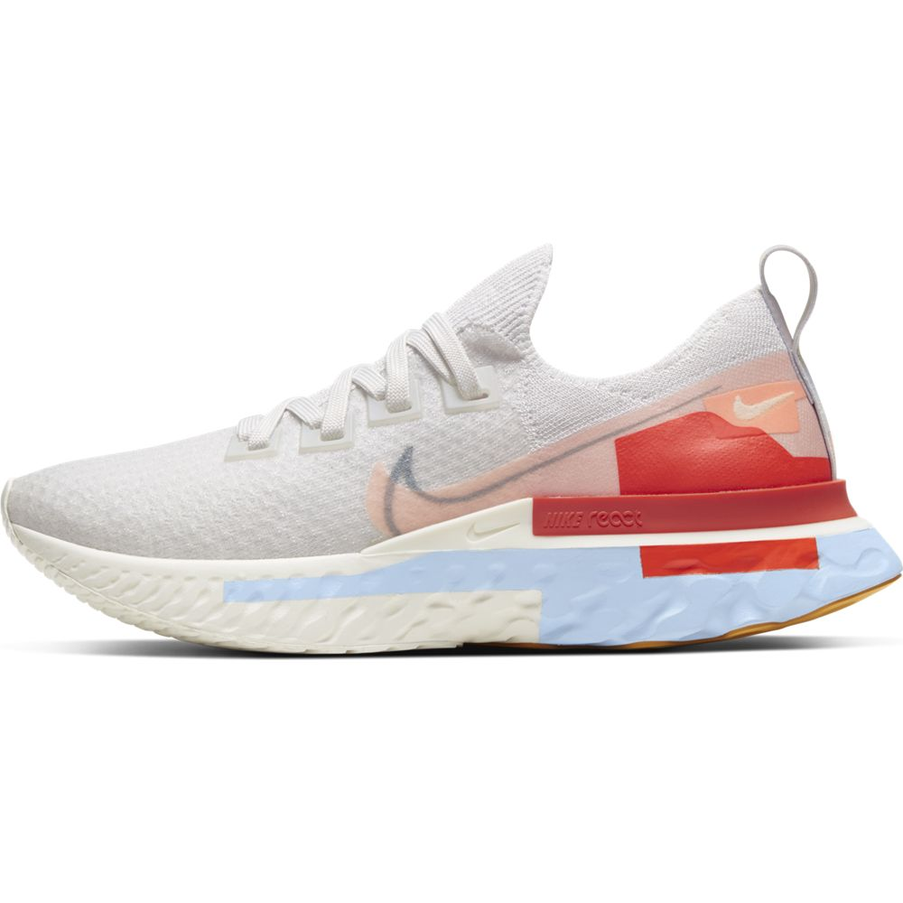 Nike Women's React Infinity Run Flyknit Premium Running Shoes Platinum Tint / Washed Coral - achilles heel