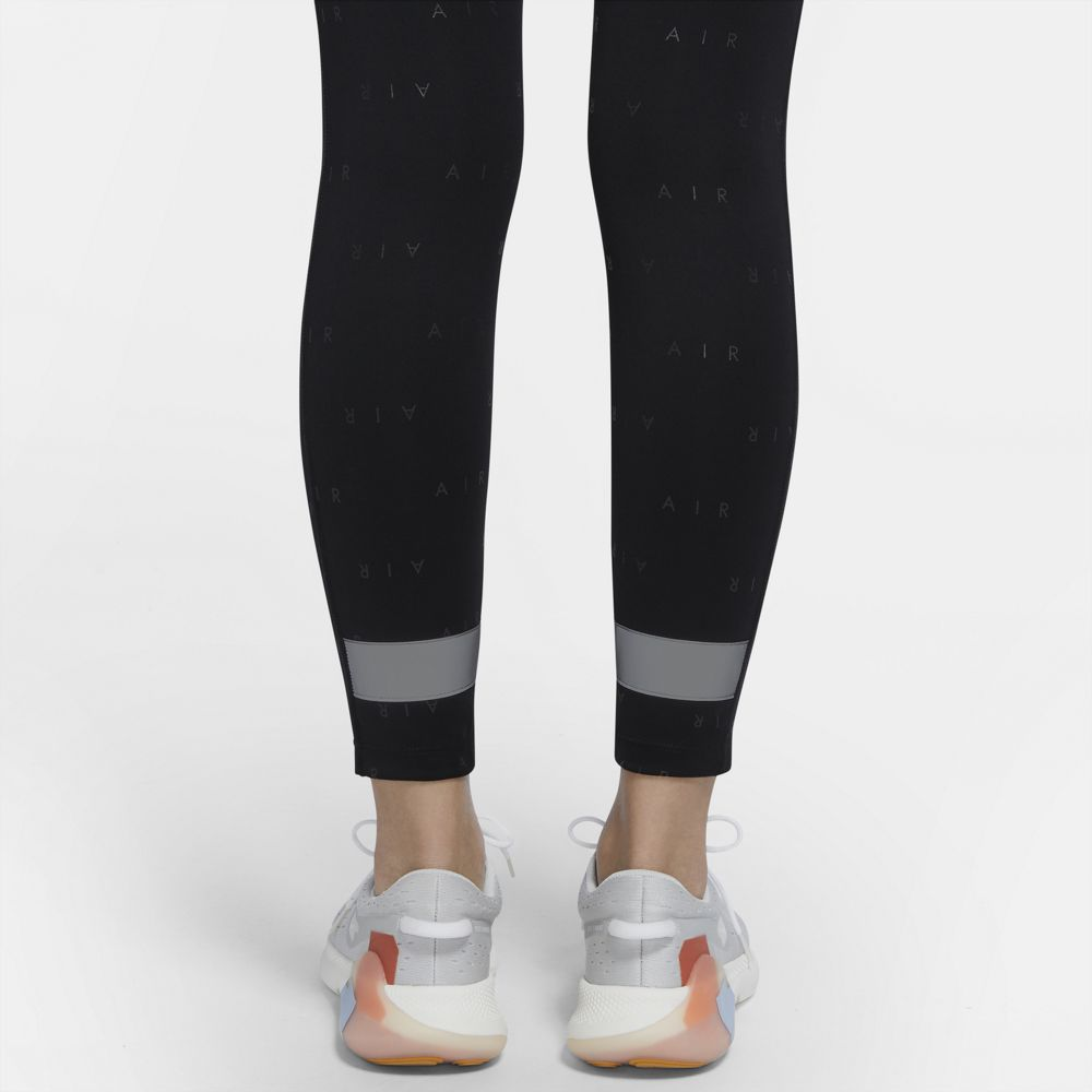 Nike Women's Air 7/8 Tight Black / Reflective Silver - achilles heel