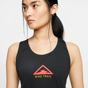 Nike Women's Trail City Sleek Tank Black / Crimson / Speed Yellow - achilles heel