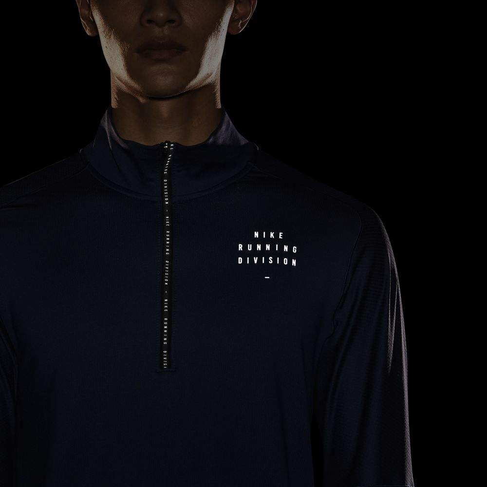 Nike Men's Run Division Top Midnight Navy / Reflective Silver - achilles heel