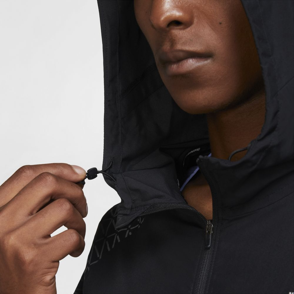 Nike Men's Essential Run Division Flash Jacket Black / Reflective Silver - achilles heel