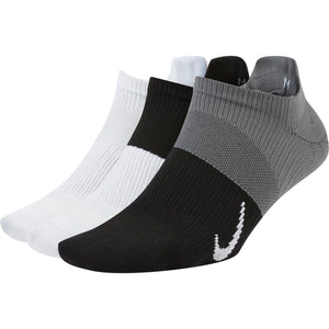 Nike Women's Everyday Plus Lightweight No-Show Socks 3 Pack Black / White / Grey - achilles heel