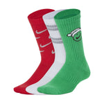 Nike Kids Everyday Cushion Festive Crew Socks 3 Pack Green / White / Red - achilles heel