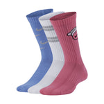 Nike Kids Everyday Cushion Festive Crew Socks 3 Pack Pink / White / Blue - achilles heel