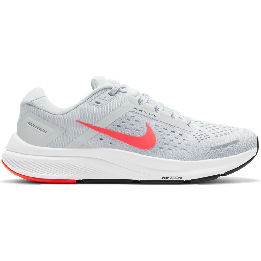 Nike Women's Air Zoom Structure 23 Running Shoes Pure Platinum / Flash Crimson - achilles heel