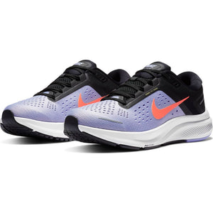 Nike Women's Air Zoom Structure 23 Running Shoes Indigo Haze / Bright Mango / Black - achilles heel