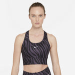 Nike Women's DRI-FIT Swoosh Icon Clash Bra Dark Raisin / White - achilles heel