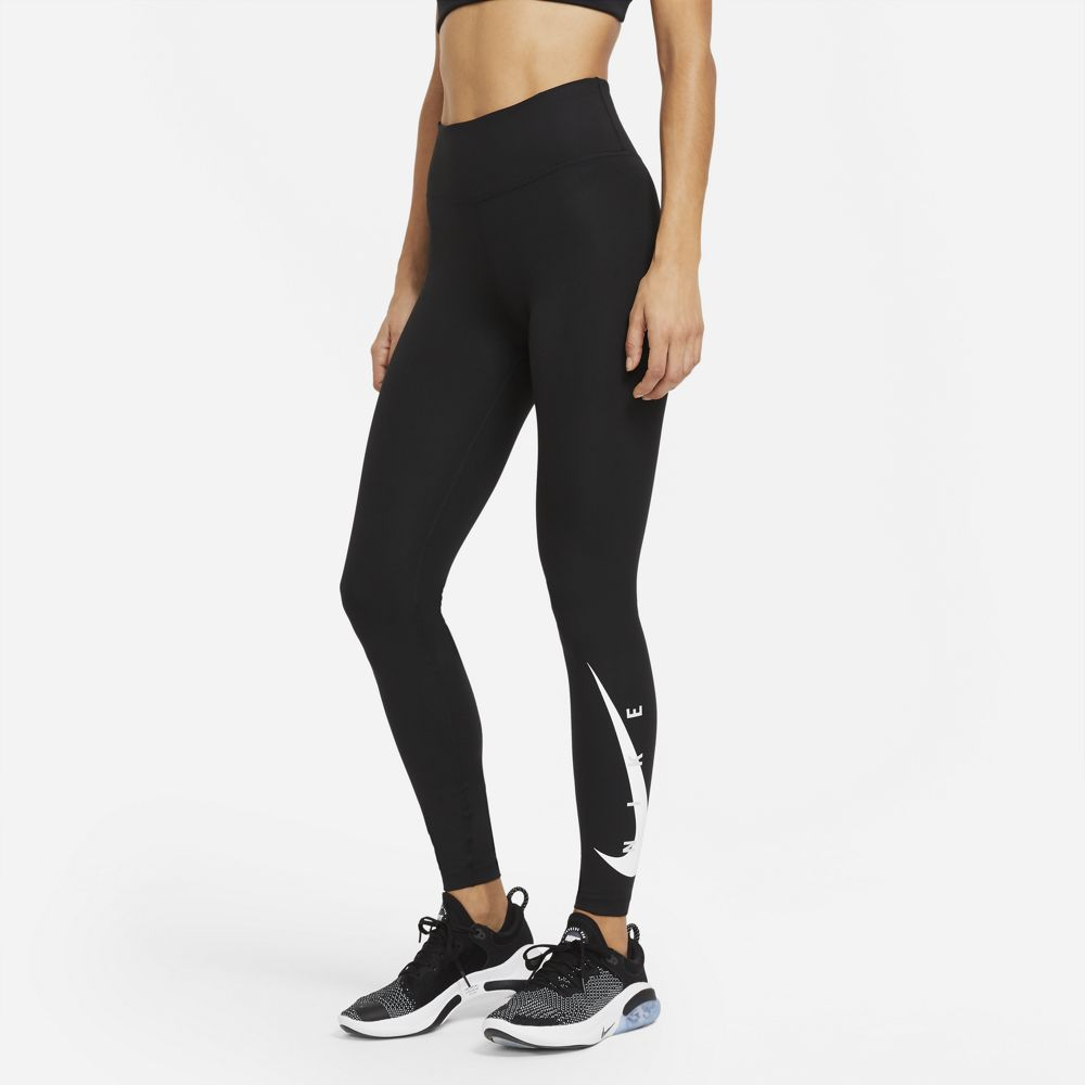 Nike Women's Swoosh Run 7/8 Tight Black / Black / Reflective Silver - achilles heel
