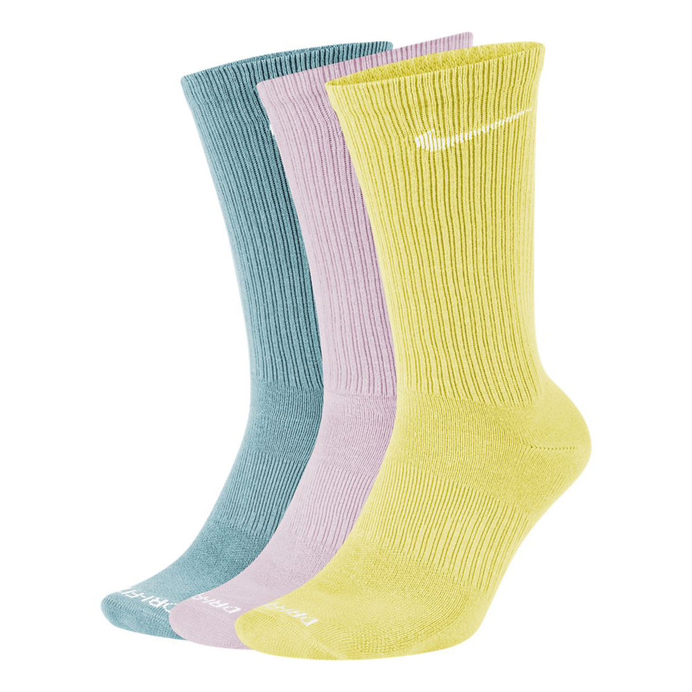Nike Everyday Plus Lightweight Crew Socks 3 Pack Yellow / Pink / Green - achilles heel