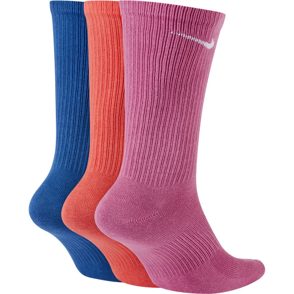 Nike Everyday Plus Lightweight Crew Socks 3 Pack Pink / Red / Navy - achilles heel