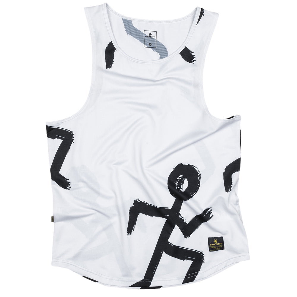 SAYSKY Tribe Combat Singlet Running Tribe Print White - achilles heel