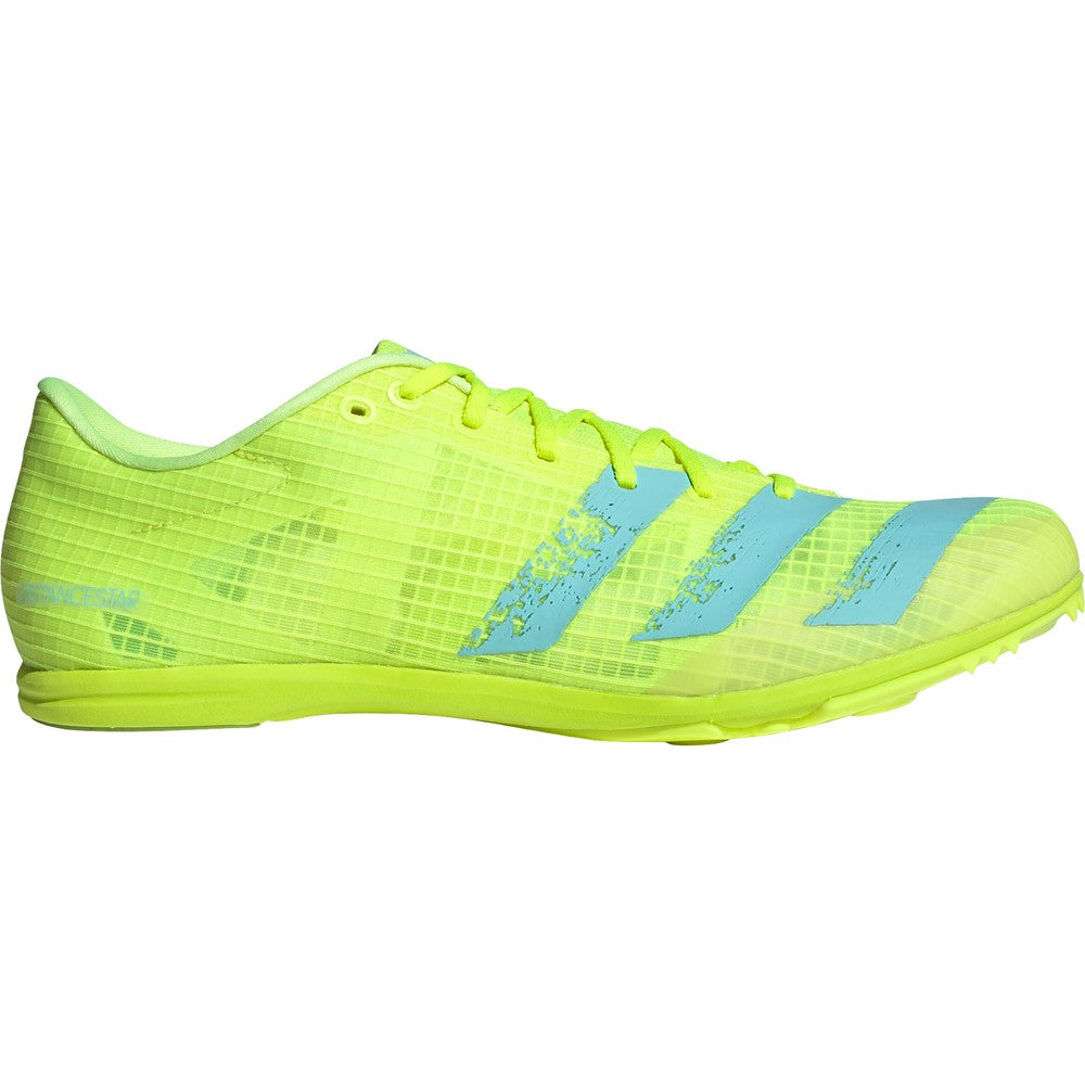 adidas Distancestar Running Spikes Solar Yellow / Clear Aqua - achilles heel
