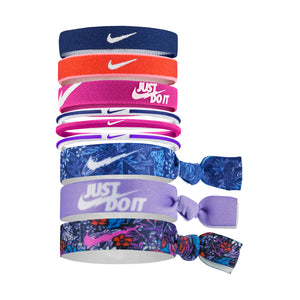 Nike Ponytail Hair Bobbles 9 Pack Blue / Purple / Pink