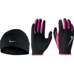 Nike Women's Run Dry Hat & Glove Set Black / Pink - achilles heel