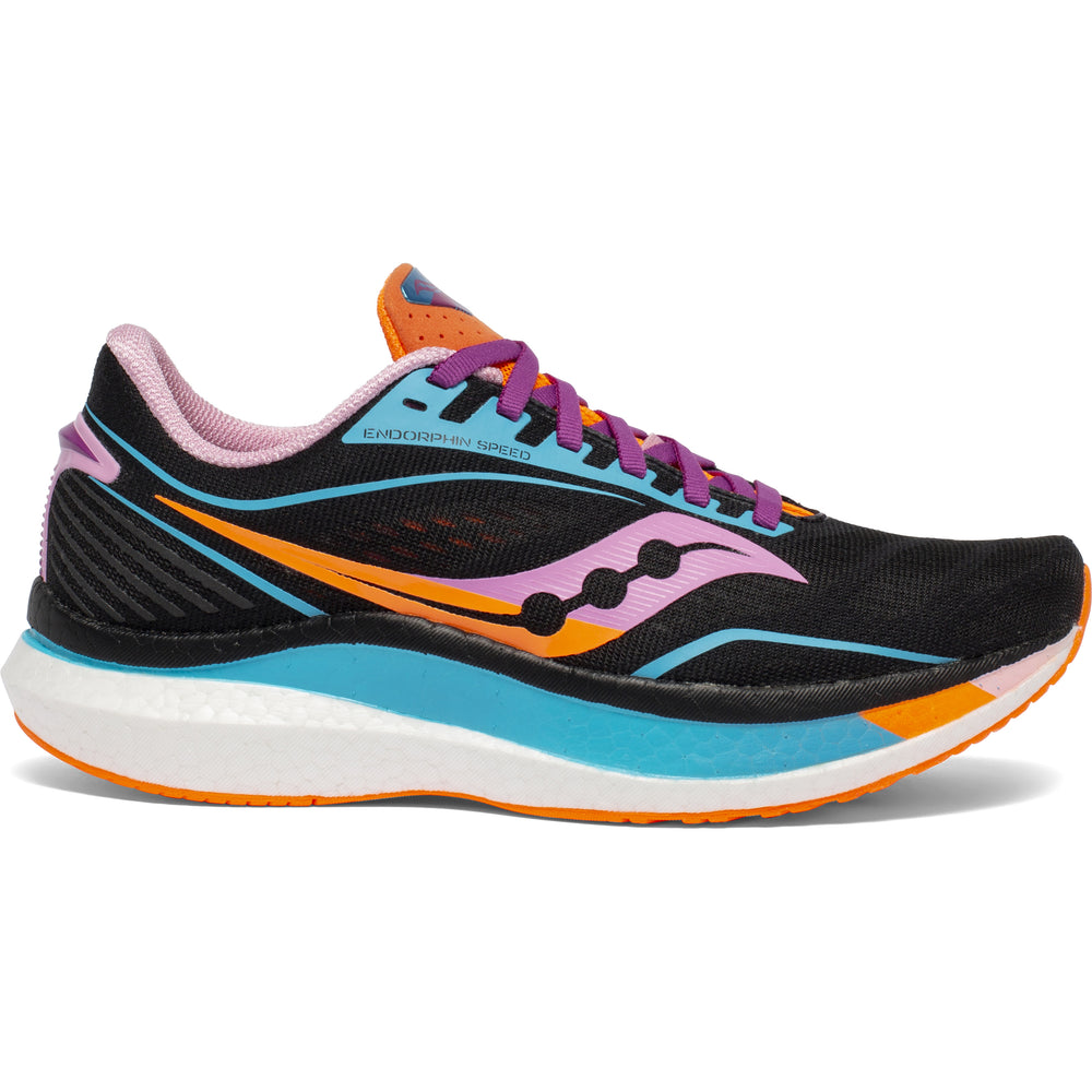 Saucony Women's Endorphin Speed Running Shoes Future / Black - achilles heel