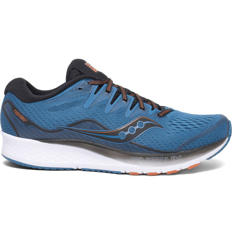 Saucony Men's Ride ISO 2 Running Shoes Blue / Black - achilles heel