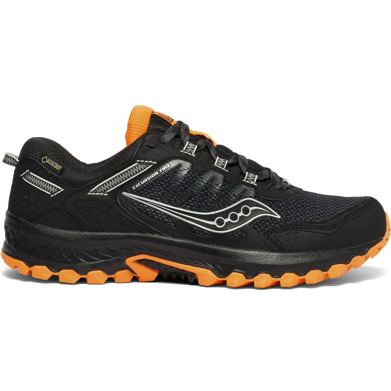 Saucony Men's Excursion 13 Gore-Tex Trail Running Shoes Black / Orange - achilles heel