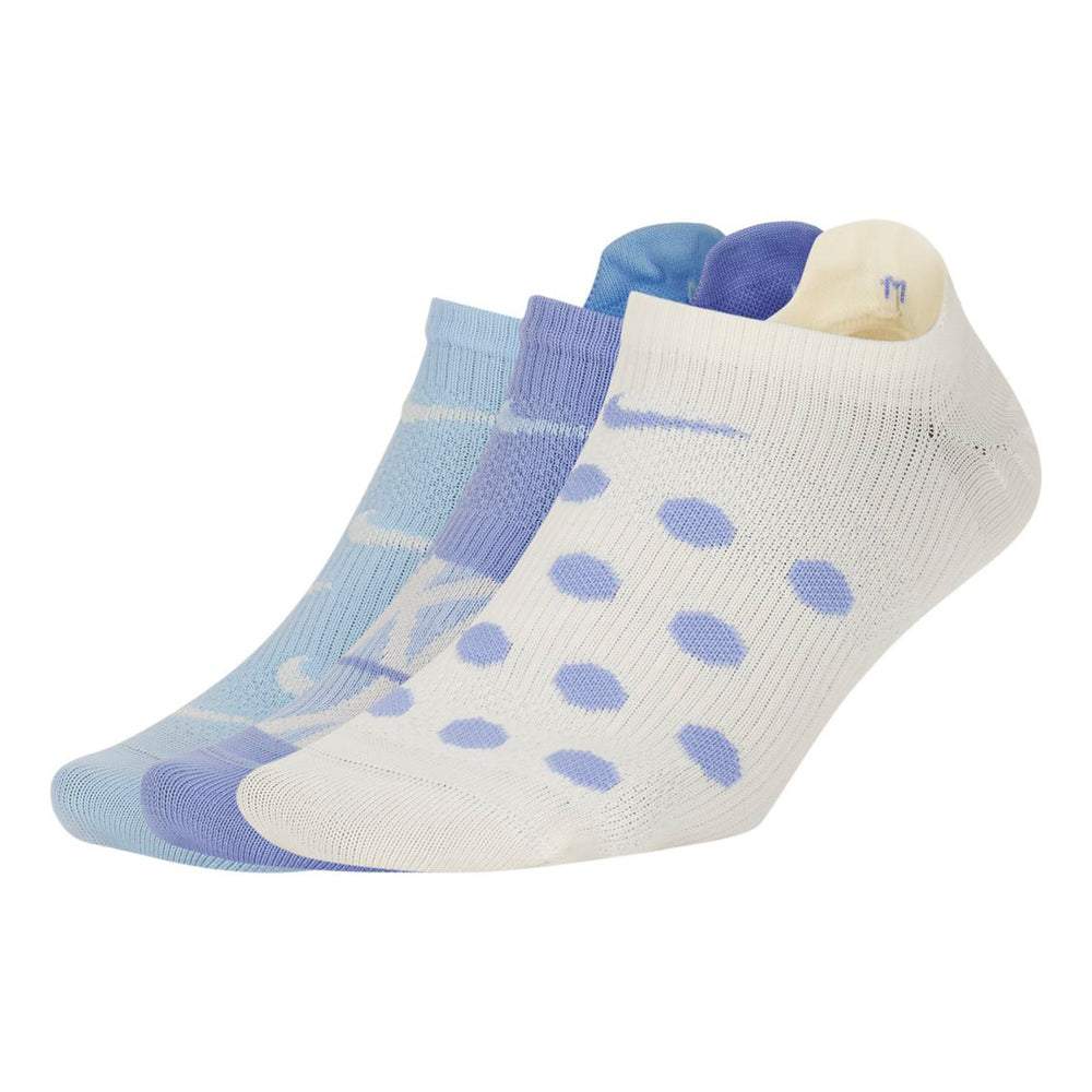 Nike Women's Everyday Plus Lightweight No-Show Socks 3 Pack Sky / White / Lilac - achilles heel