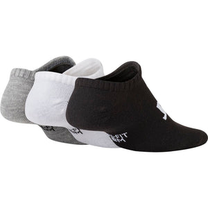 Nike Kids Everyday Lightweight No-Show 3 Pack Socks Black / White /Grey - achilles heel