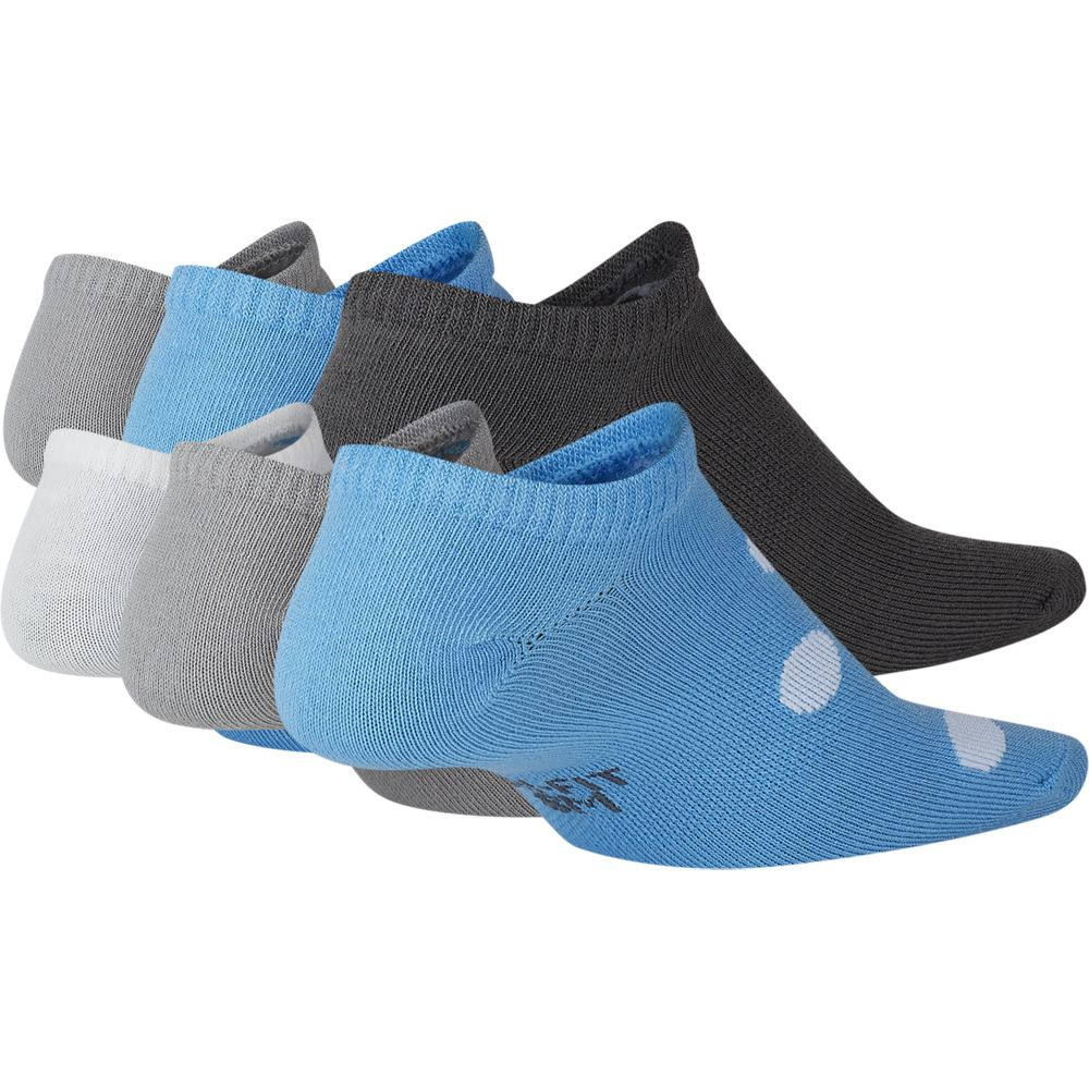 Nike Kids Everyday Lightweight No-Show Socks 6 Pack Sky / Grey / White - achilles heel