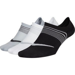 Nike Women's Everyday Plus Lightweight Footie Socks 3 Pack Black / White / Grey - achilles heel