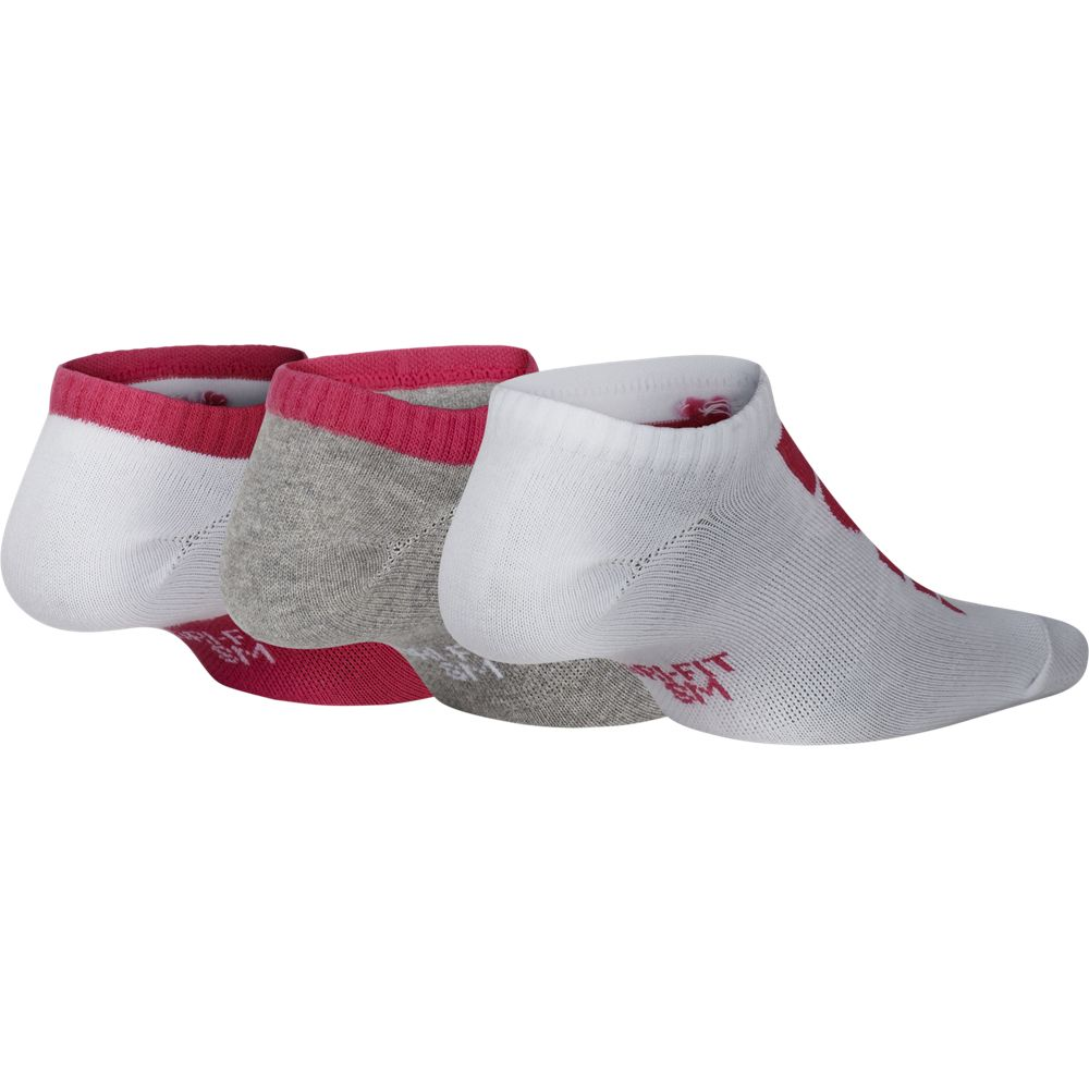 Nike Kids Performance Cushion No-Show Socks 3 Pack White / Pink / Grey - achilles heel